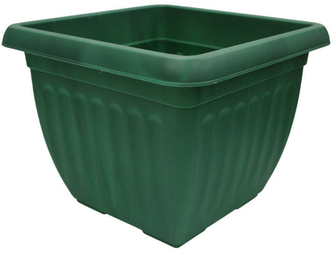 40cm Large Square Plastic Plant Pot Flower Planter Green Ribbed Design