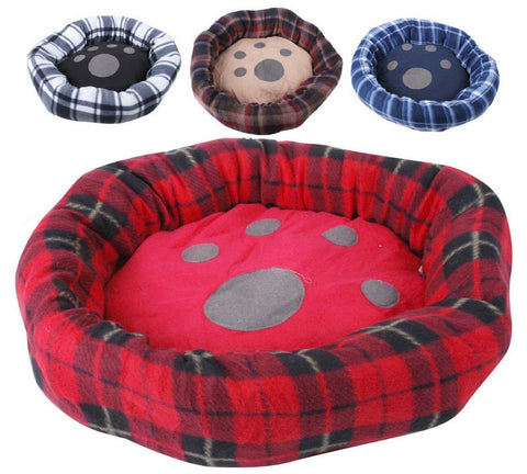 Small Dog Round Plush Dog Bed 55cm In Tartan Design Grey Blue Brown Black