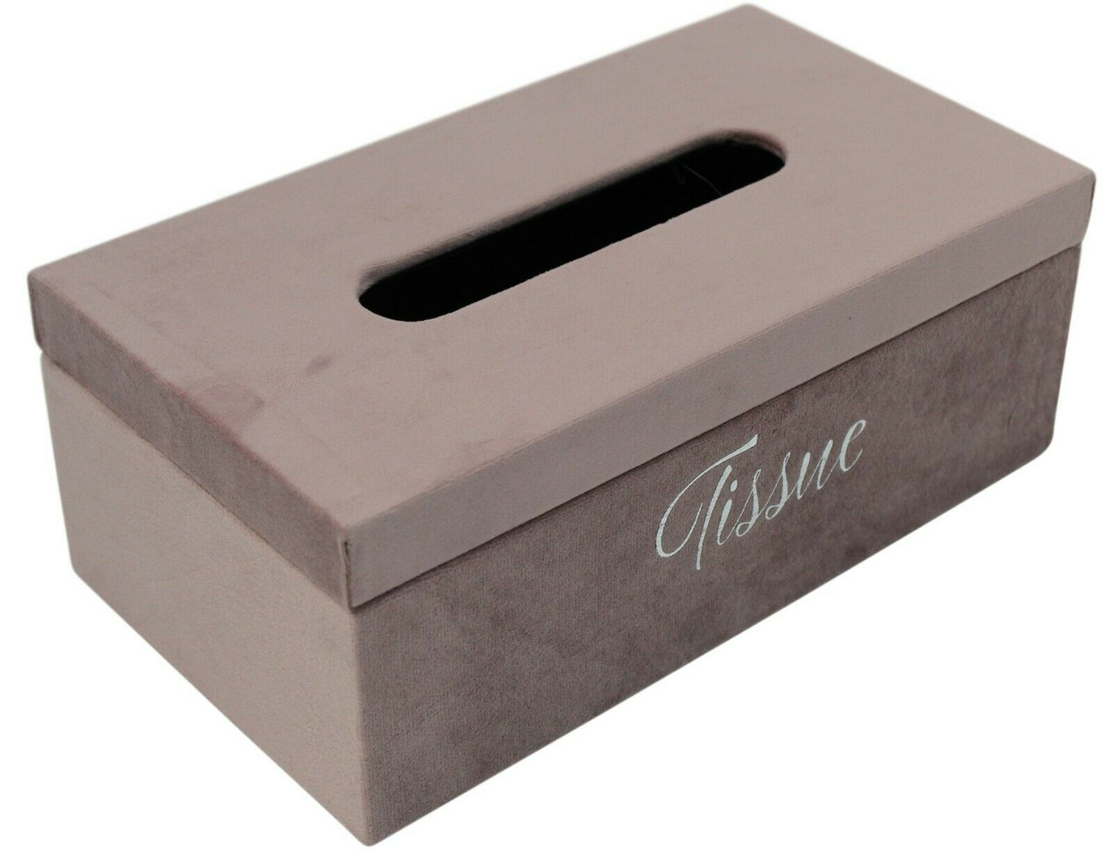 Velvet Wood Tissue Box in Choice of 6 Pastel Colours Blue, Grey Pink White