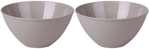 Set of 2 - 4.5 Litre Plastic Mixing Bowls Large Kitchen Salad Bowl in Taupe