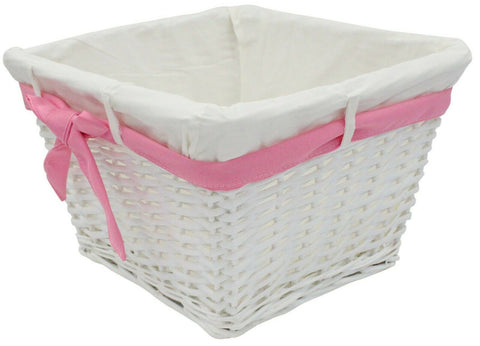 Large Rattan Woven Wicker Lined Baskets 30cm Hamper Basket Pink Ribbon