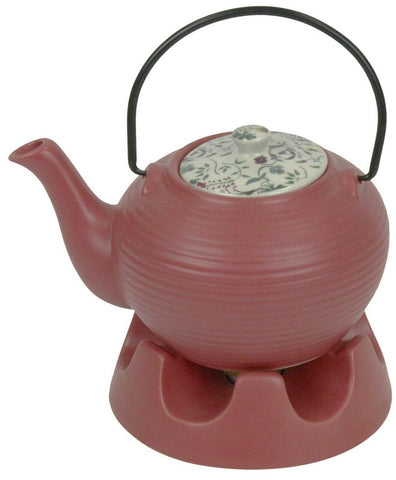 Japanese Teapot Dark Pink Striped & Teapot Warmer Ceramic Jameson & Tailor 6 Cup