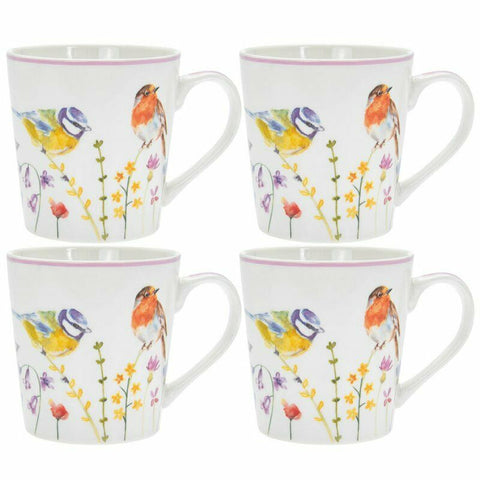 Set of 4 Leonardo Collection Fine China Mug Set Coffee Garden Birds Mugs 350ml