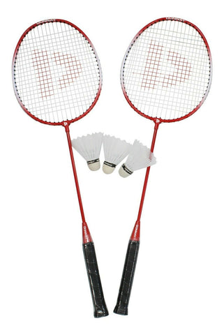 Donnay Red Badminton Set Of 2 Rackets & 3 Shuttlecocks With carry Case