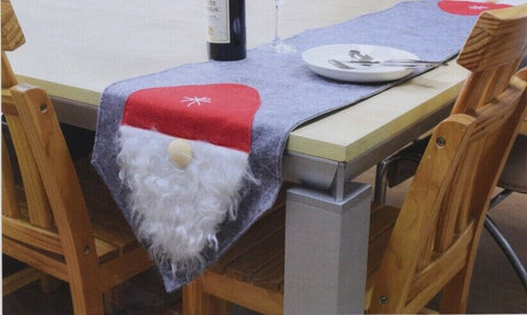 Silver / Grey Felt Table Runner Christmas Table Runner With Gnome 180 cm x 35 cm