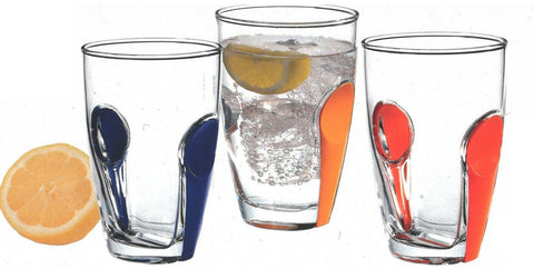 Pasabahce Set of 6 Glass Tumblers Snap Range With Colourful snap on