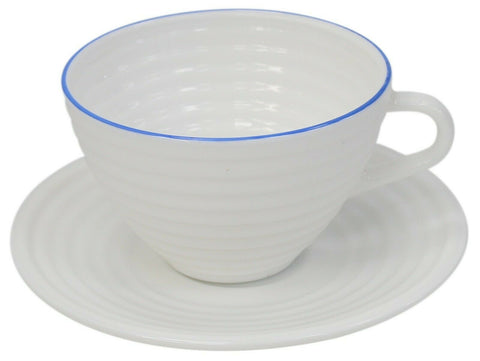 Set of 6 Tea Cups & Saucer Set Opal White Glass Rippled Design, 6 Mugs 6 Saucers