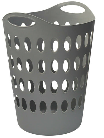 Large Tall Grey Laundry basket With Handles Light Weight & Strong With Handles