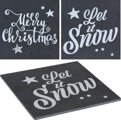 Christmas Coaster Placemats - Set Of 4 Black Xmas Slates Festive Text Plaque