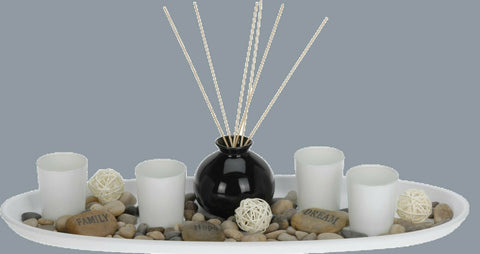 Tea Light Holder Set & 50cm Tray & Incense Sticks & Vase & Decor Stones