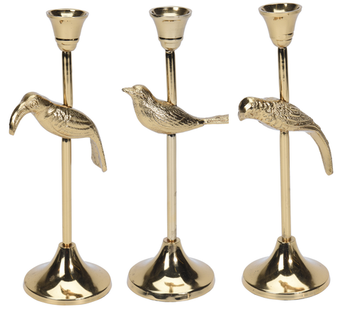 28cm Tall Gold Candle Stick Original Unique Gold Candle Holder Wild Birds