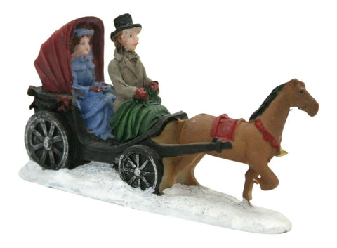 Carriage Ride Ornament - Mini Festive Christmas Winter Village Resin Decoration