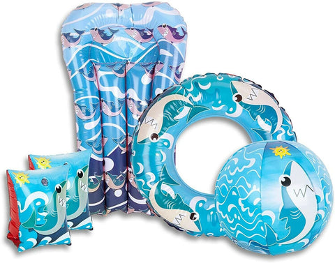 Shark 5 piece Inflatable Swimming Pool Set Armbands Ring, Float & Beach Ball