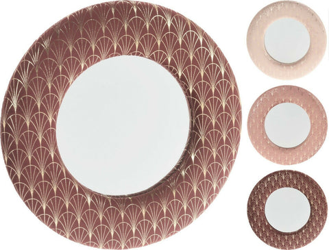 Round Wall Mirror For Hallway Bedroom Makeup Framed Circle Velvet Gold Accents