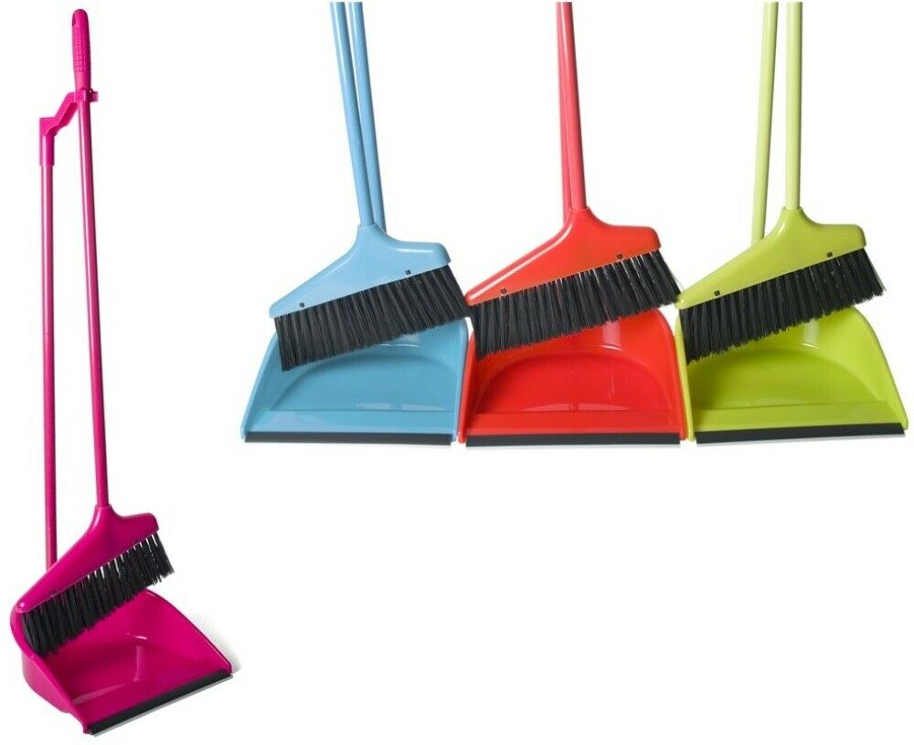 Long Handle Dustpan & Brush 2 Piece Set for Sweeping Cleaning 74cm Tall