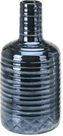 22cm Tall Bottle Gloss Vase Rippled Ceramic Bottle Flower Vase Rippled Vase
