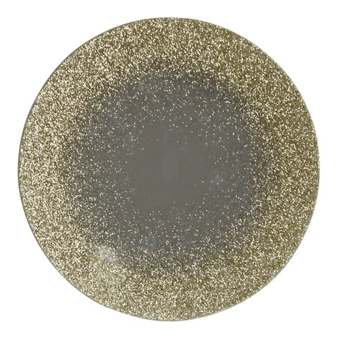 Set Of 2 Gold Sparkle Round Glitter Glass Mirror Candle Plate Stand Coaster 15cm