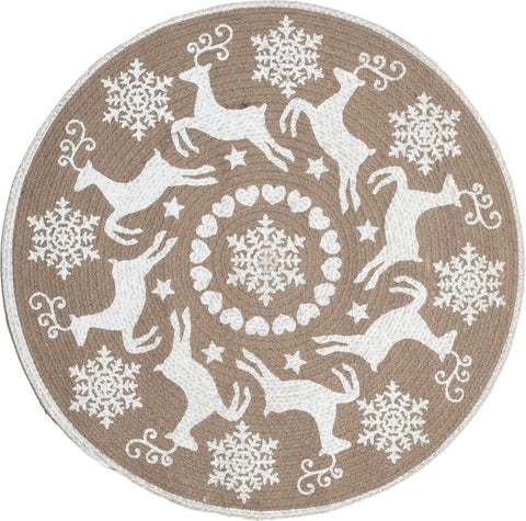 Christmas Decoration Rug - Indoor Round Floor Woven Reindeer Snowflake Design 8