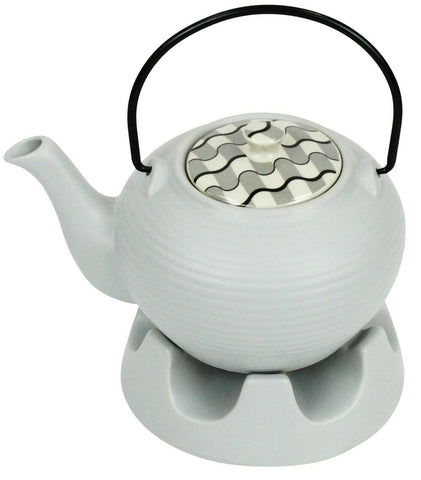 Japanese Teapot Light Grey Striped & Teapot Warmer Ceramic Jameson Tailor 6 Cup