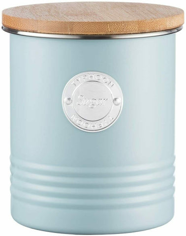 Typhoon 1Litre Blue Metal Sugar Canister Airtight Bamboo Lid Kitchen Storage Tin