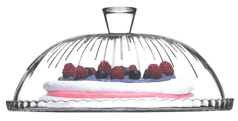 Pasabache Glass Cake Glass Cloche Cake Stand Cake Large Cake Glass Dome Plate Cover 32cm Pattern