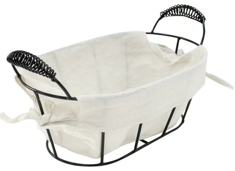 Black Metal Oval Lined Metal Storage Baskets Home Decor Handles