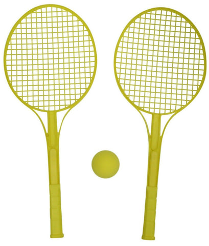 Tennis Set Hard Plastic Bat Racket & Soft Ball Yellow Indoor Outdoor Games