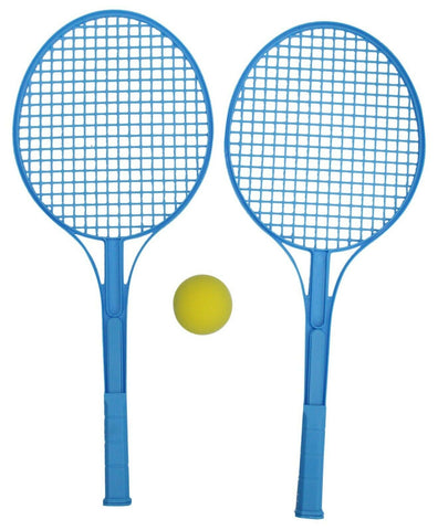 Tennis Set Hard Plastic Bat Racket & Soft Ball Blue Indoor Outdoor Games