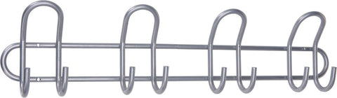 55cm Silver Heavy Duty Coat Hook Clothing Rail 8 Hooks Pegs Metal Hooks