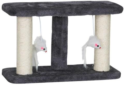 Cat Scratcher Play Stand Scraper Double Cat Scratching Pole Hanging Toy Mouse