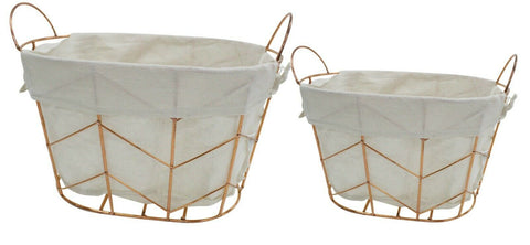 Set Of 2 Oval Lined Metal Copper Baskets Storage Baskets Home Decor Handles