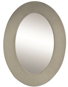 50cm Oval Velvet Framed Wall Mirror Cream