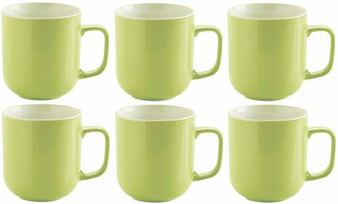 Price & Kensington Set 6 Bright Green Large Stoneware Coffee Hot Chocolate Mugs