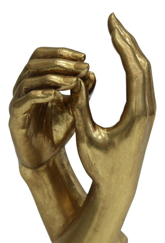 26cm Tall Harmony Of Hands Gold Resin Sculpture Ornament Mantelpiece Display
