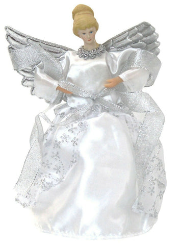 Christmas Tree Topper Fairy Angel Decoration Treetop Ornaments Silver Gown Wings