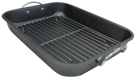 39cm Roast & Rack Non Stick Metal Roasting Tray For Meats Roast Chicken Roasting