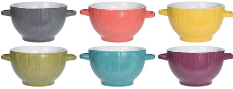 Set of 6 Rippled Stoneware Soup Bowls With Handles Bright Colours Soup Bowl Set