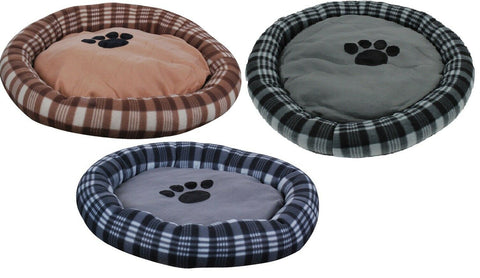 Large Round Plush Dog Bed 62cm In Tartan Design Blue Brown Black