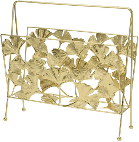 Large Gold Metal Magazine Rack With A Floral Design 36cm Width
