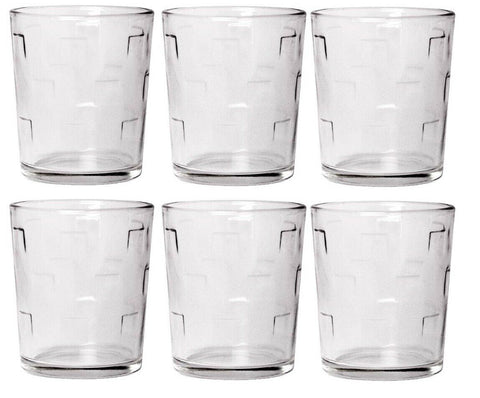 CoK Square Pattern Glass Large Tumbler Set Stackable Juice Water Glasses Set 6