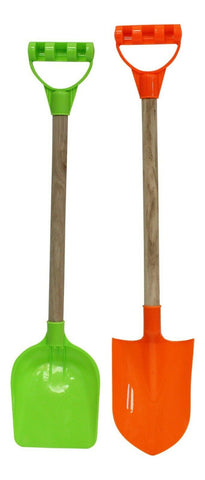 Set of 2 Tall Beach Spades Green & Orange Toy Spades For the Sand