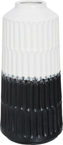 31cm Tall White & Black Rippled Porcelain Flower Vase High Gloss Bottle Base