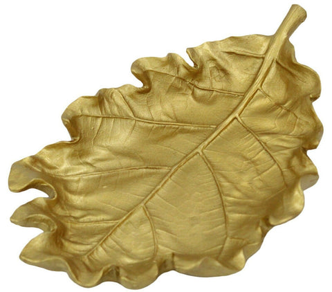 Large Gold Leaf Centerpiece Bowl Presentation Bowl Heavyweight Resin Home Décor