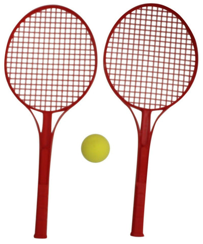 Tennis Set Hard Plastic Bat Racket & Soft Ball Red Indoor Outdoor Games