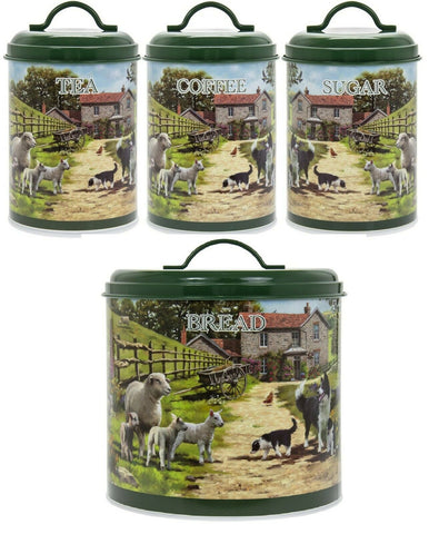 Leonardo Collection Tea Coffee Sugar Canister Set and Bread Crock Farm Animals