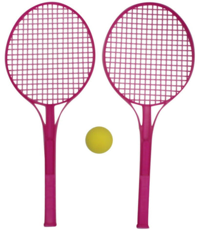 Tennis Set Hard Plastic Bat Racket & Soft Ball Pink Indoor Outdoor Games