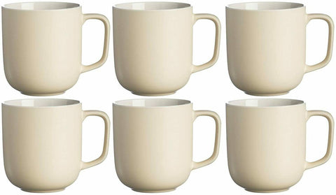 Price & Kensington Set Of 6 Large Matt Cream Mugs Stoneware Tea Coffee Cups