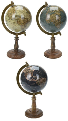 25cm World Globes Ornament Globe on Wood Stand Home Decor Ornaments