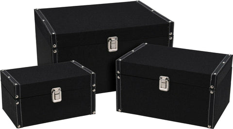 Set of 3 Wooden Modern Storage Box With Lids Nestable & Stackable Chest Box