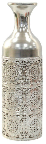40cm Tall Silver Metal Flower Vase Perforated Vase Design Bottle Vase